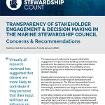 Transparency of Stakeholder Engagement & Decision Making in the Marine Stewardship Council